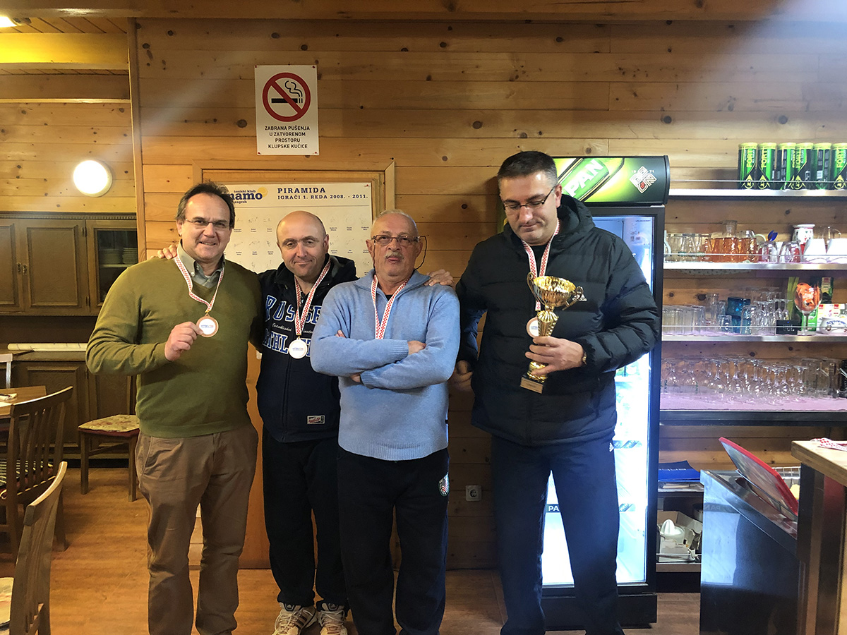 Momčadsko prvenstvo Hrvatske 2018<br>Trečeplasirani,  TK Dinamo, Zagreb,<br>Sa lijeva na desno: M.Franušić, B.Šurina, V.Rajačič, V.Prpić<br><br>